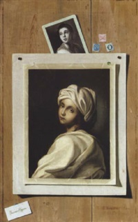 a trompe l'oeil of a portrait of beatrice cenci, and another portrait of a lady, together with three stamps by francesco alegiani