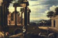 capriccio architettonico con pastori e viandanti by antonio visentini