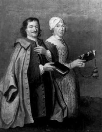 double portrait of a gentleman and his wife kneeling, holding prayer books and a rosary by cornelis van cuylenburg