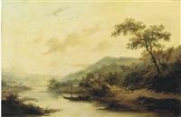 ferry crossing in a hilly landscape by jan adam janszoon kruseman