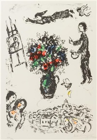 bouquet over the town by marc chagall