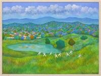 paisaje con campesinos by aurelio pescina