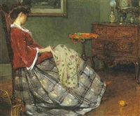 a lady sewing by eugène benjamin selmy