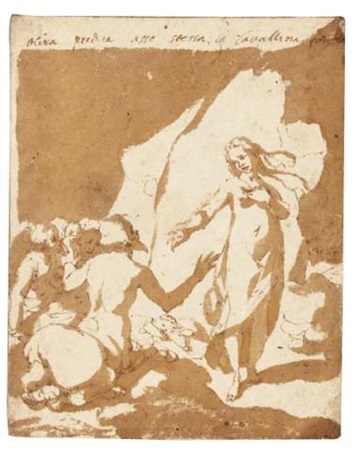 a design for a book illustration a young woman addressing a group of centaurs by andrea boscoli