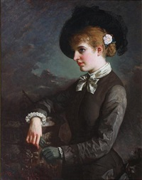 portrait of a young woman by a sundial, with a rose in her hair by william thomas roden