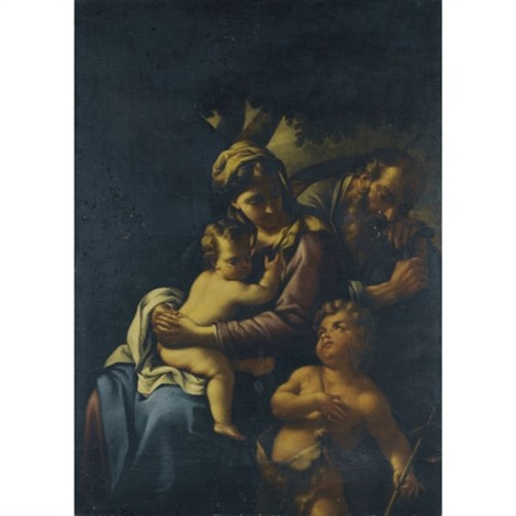 holy family with the infant saint john the baptist by nicola vaccaro