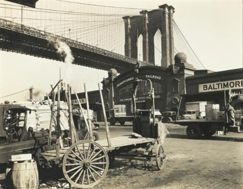 brookyln bridge pier 21 pennsylvania railroad by berenice abbott