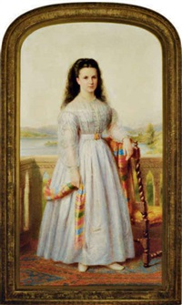 portrait of a young lady, wearing a white dress, on a terrace by richard smith