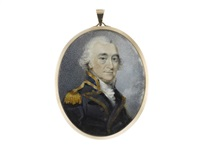 a naval officer, wearing blue coat with facings and standing collar edged with gold, gold epaulette, white stock and frilled chemise by philip jean