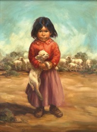 navajo girl holding sheep by vel miller