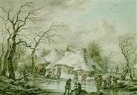 winter scene in drenthe, with soldiers and other travellers by jan hulswit
