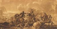 une bataille de cavalerie by jean-baptiste (louis) le paon