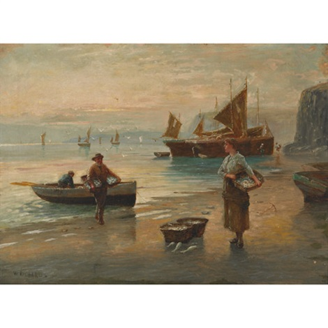 fisherfolk unloading the day's catch by w. richards