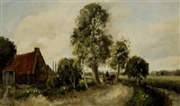 man with horse and carriage on a country road by hans lenteman