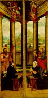 saint andrew with a donor and his sons by hans liefrinck the elder