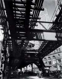 el second and third avenue lines, hanover and pearl street, new york, 6 mars by berenice abbott