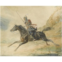 charging horseman of the mountain caucasian semi-squadron by adolphe ignatievich ladurner