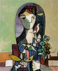 vrouw met bloemen en vogel by klaas boonstra