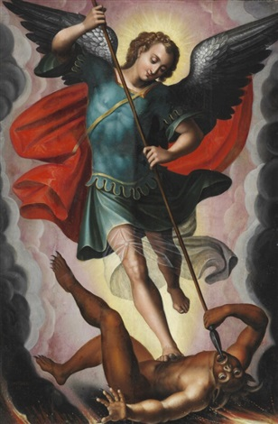 saint michael defeating the devil by spanish school 17 on artnet