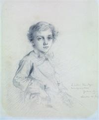 portrait de louis singer à mi-corps, portant un noeud by gustave moreau