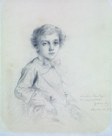 portrait de louis singer à mi corps portant un noeud by gustave moreau