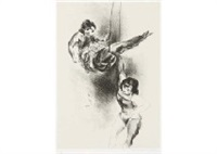 two acrobats by yasuo kuniyoshi
