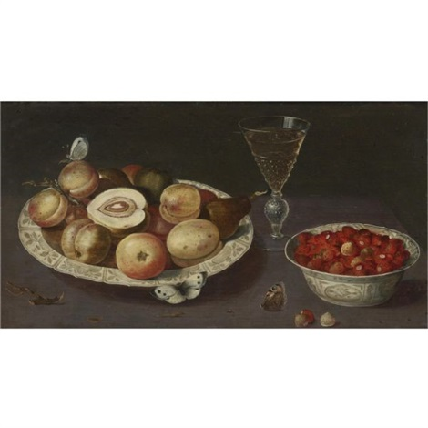 still life of peaches pears and strawberries in blue and white porcelain bowls with a glass of wine and butterflies by osias beert the elder