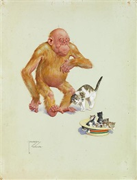 granpop with kittens by lawson wood