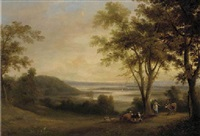 a milkmaid with a drover before a river estuary, a town beyond by george arnald