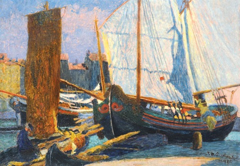 boats in the harbour by josef maria auchentaller