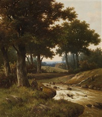 wooded river landscape with houses in the background by hendrik pieter koekkoek