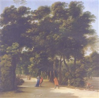 a park landscape with elegant figures conversing by angeluccio