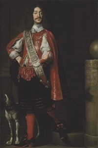portrait of count ferdinand von werdenberg in a red coat with an embroidered sash, a brittany spaniel at his side by samuel van hoogstraten