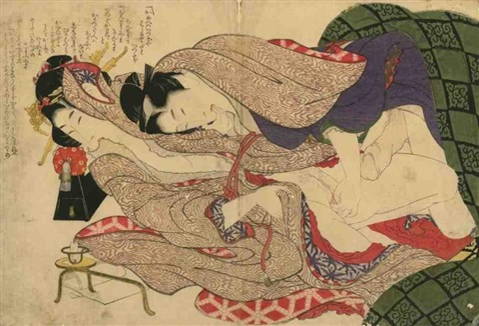oban yoko e tsui no hinagata modèles de couples amants pratiquant des préliminaires la femme mordant son kimono by katsushika hokusai