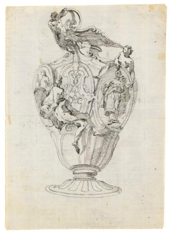 design for an elaborate vase with female and male nudes surrounding medallions with allegorical figures numerous numbered drawings for details of decorative moldings recto verso by giovanni battista tiepolo