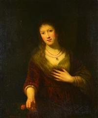 portrait of saskia with flower (after rembrandt van rijn) by hans dahl