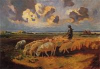 pastore e gregge nella campagna romana, 1909 by umberto coromaldi