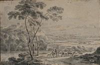 bergers et troupeau dans un paysage by adriaen van der cabel