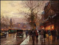 rainy paris evening by edouard léon cortès