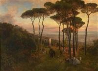 coucher de soleil en toscane animé de nombreux personnages by oswald achenbach