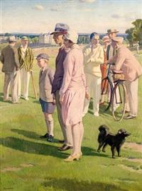 saturday afternoon, the cricket match on blackheath by francis h. dodd