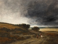 landscape with sheperdess and cattle by georges michel