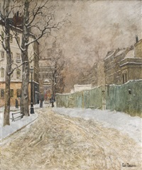 a parisian street scene in winter by frits thaulow