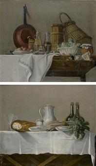 les apprêts du déjeuner avec huilier et vinaigrier, salade verte et les apprêts du déjeuner avec miche de pain, vin et radis (pair) by etienne jeaurat