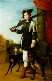 a hunter with her dogs by louise von meyern-hohenberg