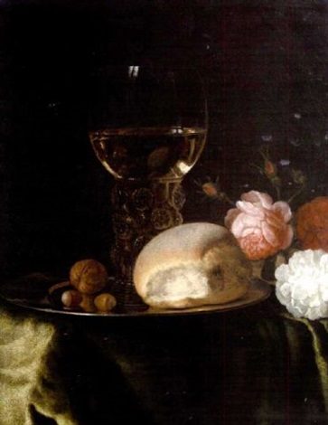 a roemer of white wine walnuts and a bread roll on a silver plate beside roses on a table draped with a green velvet cloth by simon luttichuys