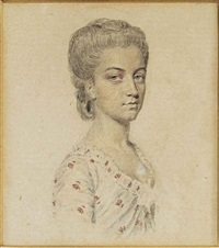 a preparatory sketch of mrs armitstead (1750-1842), in white dress with floral red print, upswept hair by john smart the elder