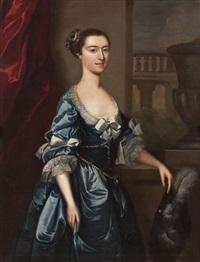 dame mit federhut und blauem kleid by joseph highmore