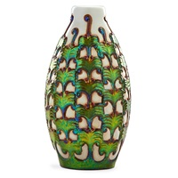 vase with raised leaf pattern in eosin by zsolnay