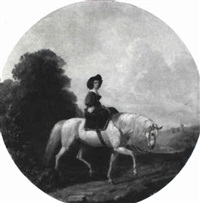 a lady on horseback in an extensive landscape, with a castle beyond by james william glass